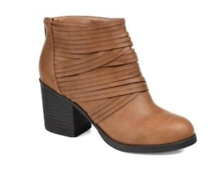 *NEW* Journee Collection~Women's~Preslee~Ankle Boots~Tan~Almond Toe~Sz 9