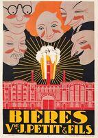 Affiche Art Deco Originale - Brodovitch - Bières Veuve J. Petit - Brasserie 1921