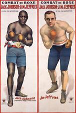 JACK JOHNSON V JIM Jefferies pugilato pesi massimi BOUT POSTER 1910 Cartello in metallo