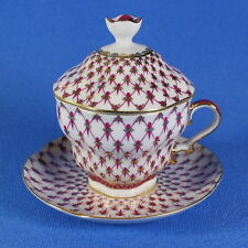 Cup with saucer and lid tea, Lomonosov Porcelain, Grid-Blues, IFZ, Russia