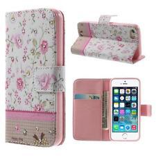 Schutz Tasche Hülle Flip Cover Case f Iphone 6 4.7 STRASS BLUMEN ROSA WEIß 37A2