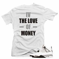 "Shirt to match  Air Jordan Retro 4 Cement Sneakers ""MONEY"" White tee"