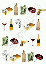 Bad girl nail art water decals Beer, money, cigarette and wine nail decals!