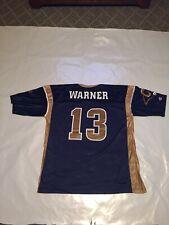 Mens Champion L.A. Rams #13 Kurt Warner Screen Printed Jersey Blue Large(44)
