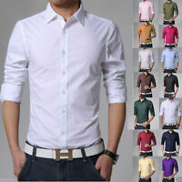 Stylish Men's Luxury Slim Fit V-neck T-shirt Long Sleeve Casual Tops Dress Shirt