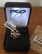 Harley Davidson Red Garnet Ring SZ 7 $120 New Flower Silver Mod Gemstone Jewelry