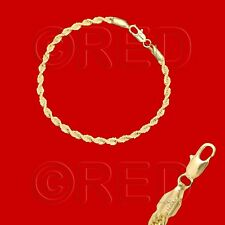 "GOLD over SILVER QUALITY MADE in ITALY 3mm ROPE CHAIN 7.5""  BRACELET R3A"