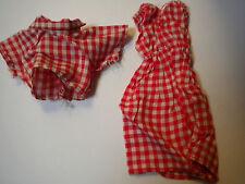 Vintage Barbie Doll clothing 2pc set red Gingham pic nic summer romper dress