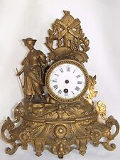 03D53 antik Uhr Legierung gold- Anfang XX STATUE FRAU UND Mühle Signiert