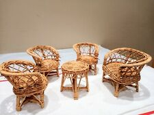 Mini Wicker Rattan Doll House Furniture Set 5 Piece, Loveseat, 3 Chairs, & Table