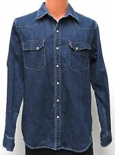 vtg Levi's Longhorn DARK BLUE DENIM WESTERN Shirt LARGE Slim Fit cowboy 90s/00s