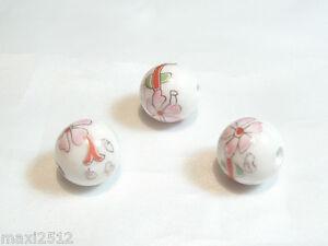 10 pcs x Porcelain Beads : Porcelain67 12mm Round Floral