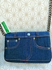 New Benetton Blue Handbag Clutch Bag Denim Blue Jean Design metal chain strap
