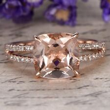 4.10Ct Cushion Cut Morganite Halo Engagement Ring 10K Rose Gold Over