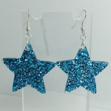 Blue Large Star Holo Glitter Charms Resin Earrings D204 Kitsch 5.5cm Turq