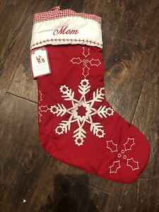 NWT POTTERY BARN Red QUILTED Snowflake Gingham CHRISTMAS STOCKING Mono Mom