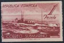 SPAIN 1938 SUBMARINE Sc 605A var Edifil 775ab LIGHT BROWN PROOF HORIZNTL IMPERF
