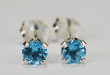 BEENJEWELED GENUINE NATURAL MINED SWISS BLUE TOPAZ EARRINGS~STERLING SILVER~4MM
