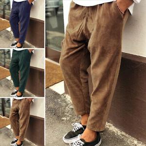 Mens Corduroy Drawstring Trousers Elastic Waist Harem Bottoms Casual Long Pants