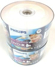 100 PHILIPS Blank DVD-R DVDR White Inkjet Hub Printable 16X 4.7GB  Media Disc
