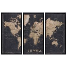 More details for designer maisons du monde explore black world map triptych wood frame 180 x 120