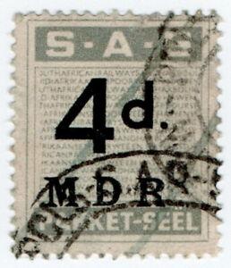 (I.B) South Africa Railways : Parcel Stamp 4d (Afrikaans)