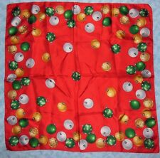 "Vintage ECHO Ladies Scarf Christmas Bulb Ornaments on Red 21"" Sq VGC"
