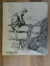 "Original 1918 Hand Drawn Pen & Ink Drawing  Woman Crossing Sty ""Rather High"""