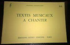 Textes musicaux à chanter - Volume 6A