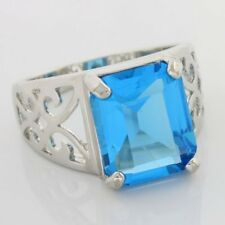 Juliani 925 Sterling Silver Mothers Day Ring 5.50 CTTW Created Blue Topaz Size 7