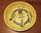 Vintage Sea World Gold Coast souvenir wooden bowl dolphin seal penguin pelican