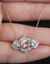 New 10K Natural Morganite Zicron 3stone Flower Pendant Necklace Chain Rose Gold