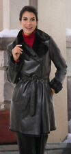 Faux Leather Shearling Fur Coat Jacket Belted Double Breasted Black Small Vegan