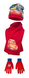 Official Disney Cars 3 Winter Hat Gloves and Scarf 3 Pcs Set Kids Age 2-13 Yrs