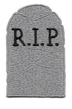 "Tombstone - RIP - Halloween Embroidered Iron On Applique Patch - 2 5/8""H"