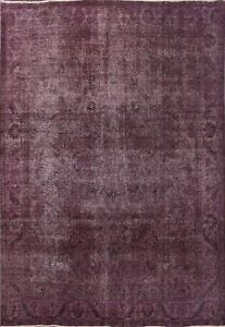 Vintage Distressed Overdyed Area Rug Evenly Low Pile Wool Hand-knotted 10'x11'
