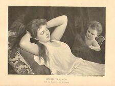 Pretty Lady, Cupid, Sweet Dreams, German, Vintage, 1898 Antique Art Print, CUTE