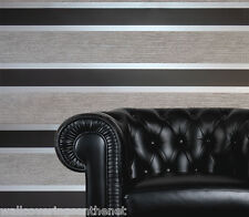 Black, Silver, Grey & White Striped Blown Vinyl Designer Wallpaper With Glitter