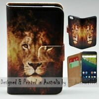 For Google Pixel Series - Lion Illustration Print Wallet Mobile Phone Case Cover