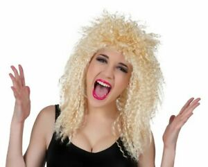 Hyfive Curly 80s Wig Fancy Dress Party Costume Unisex - Blonde