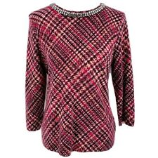 $189 NWT TALBOTS 100% CASHMERE Jeweled  Crew Neck Multi Pink Red Brown XLP