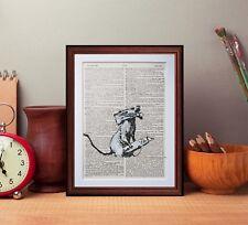 Banksy Razor Rat dictionary page art print reading books gift poster print gift