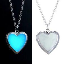 Glow in the Dark Silver Steel Chain Heart Shape Locket Necklace Pendant Luminous