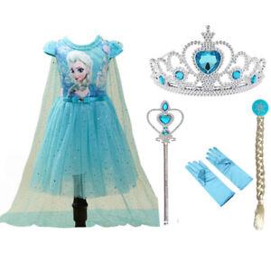 Christmas Kids Girl Elsa Anna Frozen Princess Fancy Dress Up Cosplay Party Cloth