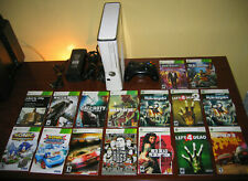 Xbox 360 Slim White Console Bundle Controller Cables 100 GB + 16 Video Games