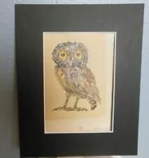 Vintage Owl Print Emily Wilson 1976 Smithsonian Matted 10 x 8""