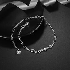 Fashion Womens 925 Sterling Silver Love Heart Foot Link Chain Ankle Bracelet #A2