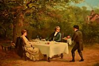 ALEXANDER ROSELL Antique Original Garden Dining Landscape Portrait Oil Painting