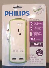 Philips Travel Surge Protector 2 AC Outlets 2 USB Charging Ports-NEW