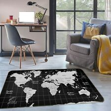 3D Black Square ZHU283 World Map Non Slip Rug Mat Elegant Photo Carpet Amy
